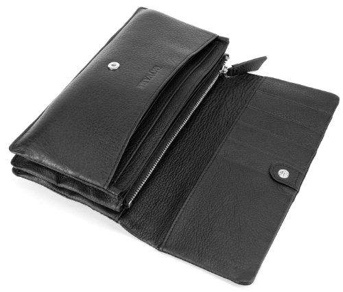 Bovari xl portefeuille et porte monnaie femme 20x11x3 cm cuir de veau supermou noir le - Porte monnaie texier femme ...