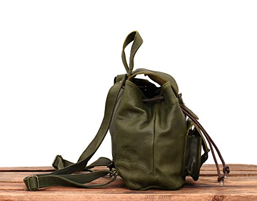 paul marius petit sac dos en cuir couleur vert olive style vintage le baroudeur le sac en cuir. Black Bedroom Furniture Sets. Home Design Ideas